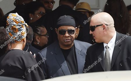 Singer Stevie Wonder leaves a memorial service for film director John Singleton at Angelus Funeral Home, in Los Angeles. Singleton died on April 29 following a stroke