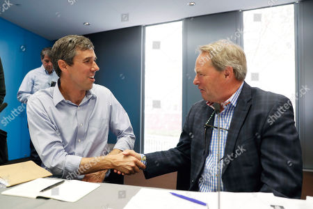 Beto O'Rourke. Democratic presidential candidate and former Texas Congressman Beto O'Rourke talks with Drake University Agricultural Law Center director Neil Hamilton, right, following a roundtable discussion on climate change, in Des Moines, Iowa
