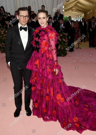 "Rachel Brosnahan, Erdem Moralioglu. Rachel Brosnahan, right, and Erdem Moralioglu attend The Metropolitan Museum of Art's Costume Institute benefit gala celebrating the opening of the ""Camp: Notes on Fashion"" exhibition, in New York"
