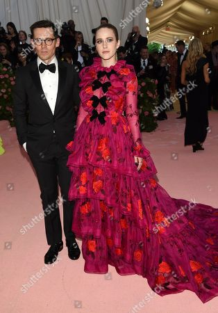 "Rachel Brosnahan, Erdem Moralioglu. Rachel Brosnahan, right, andErdem Moralioglu attend The Metropolitan Museum of Art's Costume Institute benefit gala celebrating the opening of the ""Camp: Notes on Fashion"" exhibition, in New York"
