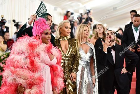 "Lizzo, Char Defrancesco, Rita Ora, Kate Moss, Marc Jacobs. From left, Lizzo, Char Defrancesco, Rita Ora, Kate Moss and designer Marc Jacobs attend The Metropolitan Museum of Art's Costume Institute benefit gala celebrating the opening of the ""Camp: Notes on Fashion"" exhibition, in New York"