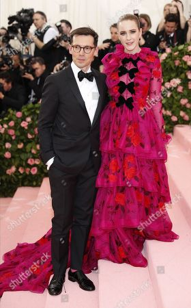 Rachel Brosnahan and Erdem Moralioglu (L) arrives on the red carpet for the 2019 Met Gala, the annual benefit for the Metropolitan Museum of Art's Costume Institute, in New York, New York, USA, 06 May 2019. The event coincides with the Met Costume Institute's new spring 2019 exhibition, 'Camp: Notes on Fashion', which runs from 09 May until 08 September 2019.