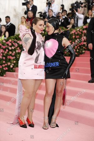 Lena Dunham (L) and Jemima Kirke arrive on the red carpet for the 2019 Met Gala, the annual benefit for the Metropolitan Museum of Art's Costume Institute, in New York, New York, USA, 06 May 2019. The event coincides with the Met Costume Institute's new spring 2019 exhibition, 'Camp: Notes on Fashion', which runs from 09 May until 08 September 2019.