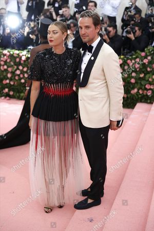 Maria Sharapova and Alexander Gilkes (R) arrive on the red carpet for the 2019 Met Gala, the annual benefit for the Metropolitan Museum of Art's Costume Institute, in New York, New York, USA, 06 May 2019. The event coincides with the Met Costume Institute's new spring 2019 exhibition, 'Camp: Notes on Fashion', which runs from 09 May until 08 September 2019.