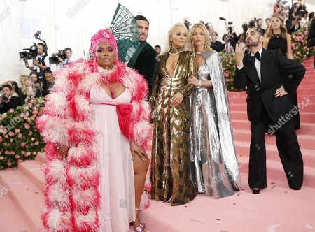 Lizzo, Char Defrancesco, Rita Ora, Kate Moss and Marc Jacobs arrive on the red carpet for the 2019 Met Gala, the annual benefit for the Metropolitan Museum of Art's Costume Institute, in New York, New York, USA, 06 May 2019. The event coincides with the Met Costume Institute's new spring 2019 exhibition, 'Camp: Notes on Fashion', which runs from 09 May until 08 September 2019.