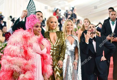 "Lizzo, Char Defrancesco, Rita Ora, Kate Moss, Marc Jacobs. Lizzo, from left, Char Defrancesco, Rita Ora, Kate Moss and designer Marc Jacobs attends The Metropolitan Museum of Art's Costume Institute benefit gala celebrating the opening of the ""Camp: Notes on Fashion"" exhibition, in New York"