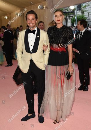 """Stock Photo of Alexander Gilkes, Maria Sharapova. Alexander Gilkes, left, and Maria Sharapova attends The Metropolitan Museum of Art's Costume Institute benefit gala celebrating the opening of the """"Camp: Notes on Fashion"""" exhibition, in New York"""