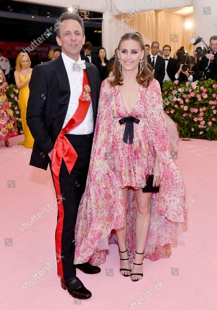 """Seth Meyers, Alexi Ashe. Seth Meyers, left, and Alexi Ashe attend The Metropolitan Museum of Art's Costume Institute benefit gala celebrating the opening of the """"Camp: Notes on Fashion"""" exhibition, in New York"""