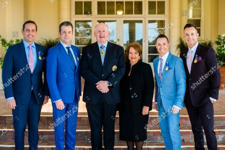 Stock Picture of Australian Governor-General Sir Peter Cosgrove (3-L) and Lady Cosgrove (3-R) pose for a photograph with band Human Nature Toby Allen, Phil Burton, Michael Tierney, and Andrew Tierney at Government House in Canberra, Australian Capital Territory, Australia, 07 May 2019. The Governor-General invested members of the band with Order of Australia Medals (OAM).