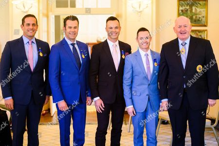 Stock Photo of Australian Governor-General Sir Peter Cosgrove (R) poses for a photograph with band Human Nature Toby Allen, Phil Burton, Andrew Tierney and Michael Tierney at Government House in Canberra, Australian Capital Territory, Australia, 07 May 2019. The Governor-General invested members of the band with Order of Australia Medals (OAM).