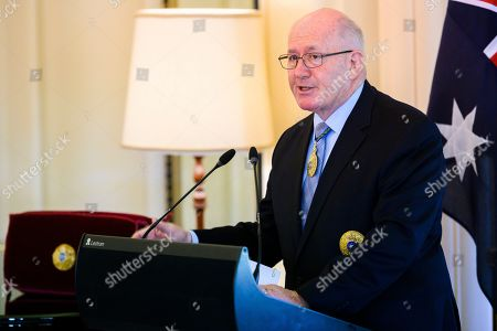 Australian Governor-General Sir Peter Cosgrove speaks during an Investiture ceremony at Government House in Canberra, Australian Capital Territory, Australia, 07 May 2019. The Governor-General invested members of the band with Order of Australia Medals (OAM).