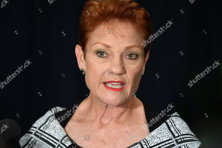 One Nation leader Senator Pauline Hanson holds a doorstop following the opening of the 57th Parliament at NSW Parliament in Sydney, New South Wales (NSW), Australia, 07 May 2019.