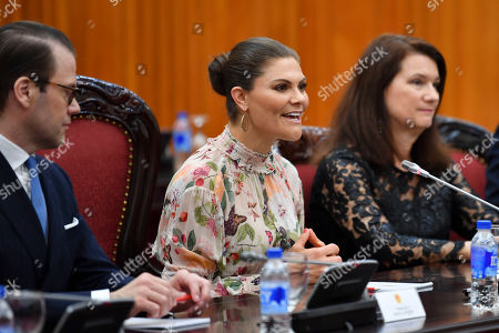Prince Daniel, Crown Princess Victoria and Minister for Foreign Trade Ann Linde during the Sweden Hanoi business summit in Hanoi