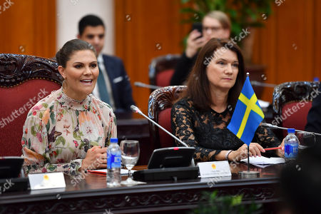 Crown Princess Victoria and Minister for Foreign Trade Ann Linde during the Sweden Hanoi business summit in Hanoi