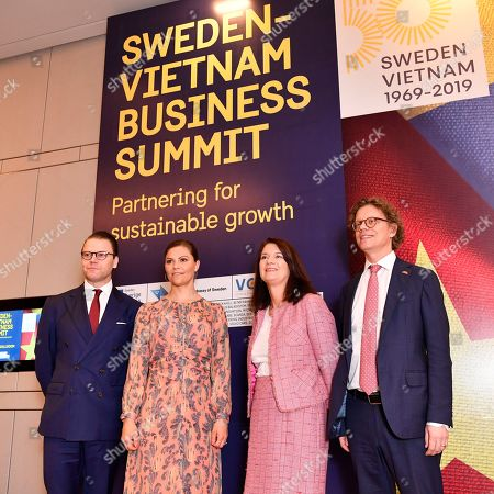 Prince Daniel, Crown Princess Victoria, Minister for Foreign Trade Ann Linde and Per Erik Hogberg Sweden's Ambasador to Vietnam during the Sweden Hanoi business summit in Hanoi