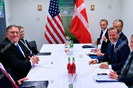 Stock Image of U.S. Secretary of State Mike Pompeo, left, takes part in a bilateral meeting with Denmarks's Foreign Minister Anders Samuelsen, right, at the Lappi Areena in Rovaniemi, Finland Tuesday