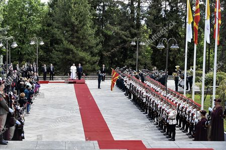 Pope Francis (C-L, back) is welcomed by North Macedonia's President Gjorge Ivanov (C-R) during a welcome ceremony at the Presidential Palace in Skopje, North Macedonia, 07 May 2019. Pope Francis is visiting Bulgaria and North Macedonia from 05 to 07 May; his 29th Apostolic Journey abroad.