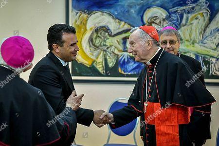 North Macedonia Prime Minister Zoran Zaev (2-L) shakes hands with Vatican's Secretary of State Cardinal Pietro Parolin (R) in Skopje, North Macedonia, 07 May 2019.