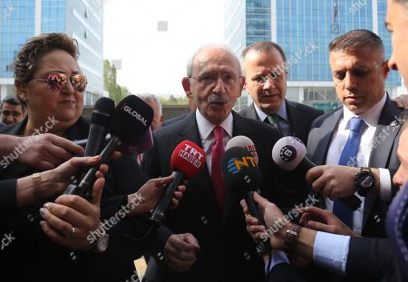 Republican People's Party (CHP) leader Kemal Kilicdaroglu (C) arrives to the CHP headquarters in Ankara, Turkey, 07 May 2019. According to reports, the Turkish Electoral Commission has ordered a repeat of the mayoral election in Istanbul.