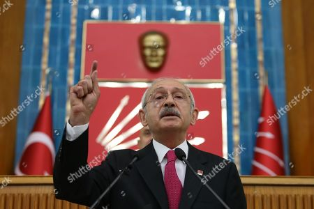 "Republican People's Party (CHP) leader Kemal Kilicdaroglu addresses members of the ruling Republican People's Party (CHP) at their group meeting at the parliament in Ankara, Turkey, 07 May 2019. According to reports, the Turkish Electoral Commission has ordered a repeat of the mayoral election in Istanbul as President Recep Tayyip Erdogan's AK Party had alleged there was ""corruption"" behind his party losing."