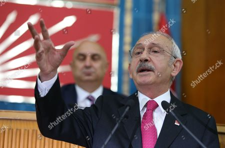 "Republican People's Party (CHP) leader Kemal Kilicdaroglu addresses  members of ruling Republican People's Party (CHP) at their group meeting at the parliament in Ankara, Turkey, 07 May 2019.  According to reports, the Turkish Electoral Commission has ordered a repeat of the mayoral election in Istanbul as President Recep Tayyip Erdogan's AK Party had alleged there was ""corruption"" behind his party losing"