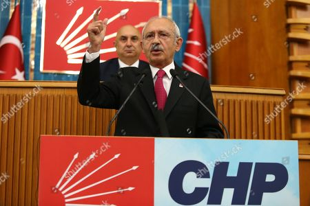 "Republican People's Party (CHP) leader Kemal Kilicdaroglu addresses  members of ruling Republican People's Party (CHP) at their group meeting at the parliament in Ankara, Turkey, 07 May 2019. According to reports, the Turkish Electoral Commission has ordered a repeat of the mayoral election in Istanbul as President Recep Tayyip Erdogan's AK Party had alleged there was ""corruption"" behind his party losing."