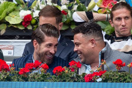Sergio Ramos of Real Madrid and Ronaldo Nazario at the Mutua Madrid Open tennis tournament in Madrid, Spain, 08 May 2019.