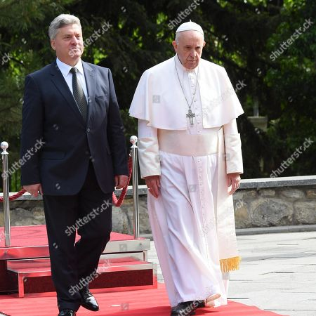 Pope Francis (R) is welcomed by North Macedonia President Gjorge Ivanov in the courtyard of the presidential palace in Skopje, North Macedonia, 07 May 2019. Pope Francis is visiting Bulgaria and North Macedonia from 05 to 07 May; his 29th Apostolic Journey abroad.