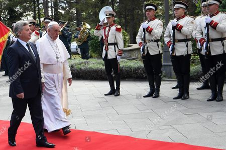 Pope Francis (2-L) is welcomed by North Macedonia President Gjorge Ivanov in the courtyard of the presidential palace in Skopje, North Macedonia, 07 May 2019. Pope Francis is visiting Bulgaria and North Macedonia from 05 to 07 May; his 29th Apostolic Journey abroad.