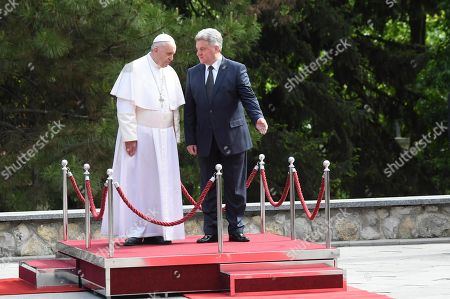 Pope Francis (L) is welcomed by North Macedonia President Gjorge Ivanov in the courtyard of the presidential palace in Skopje, North Macedonia, 07 May 2019. Pope Francis is visiting Bulgaria and North Macedonia from 05 to 07 May; his 29th Apostolic Journey abroad.