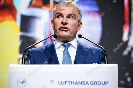 Chief Executive Officer (CEO) Carsten Spohr of German airline Lufthansa delivers a speech during the annual shareholders' meeting of Lufthansa Group at the World Conference Center (WCC) in Bonn, Germany, 07 May 2019.