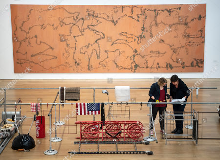 Employees of the Museum install the artwork 'Deep Social Space' by the American Artist Cady Noland during the installation of the exhibition 'Forever Young - 10 Years of Museum Brandhorst' at the Museum Brandhorst in Munich, Germany, 07 May 2019. The exhibition comprises around 250 works by 45 artists, including Andy Warhol, Cy Twombly, Bruce Nauman, Cady Noland, and Wolfgang Tillmans, and will open on 23 May.