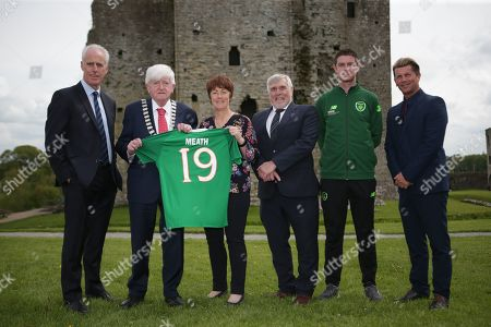 Republic of Ireland Manager Mick McCarthy, Meath County Council member Tom Kelly, Meath Local Sports Partnership Sports Coordinator Mary Murphy, FAI vice president Noel Fitzroy, Football Development Officer Barry Ferguson and Women's National Team manager Colin Bell
