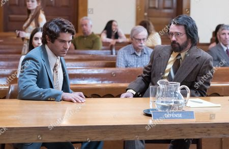 Stock Image of Lily Collins as Liz Kendall, Zac Efron as Ted Bundy and Jeffrey Donovan as Utah Defense Attorney John O'Connell