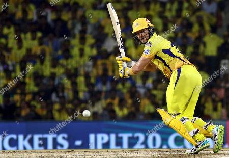 Chennai Super Kings' Shane Watson plays a shot during the VIVO IPL T20 qualifier cricket match against Mumbai Indians in Chennai, India