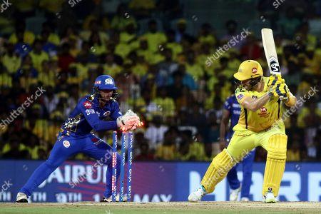 Quinton de Kock, Shane Watson. Quinton de Kock of Mumbai Indians tries to stump Shane Watson of Chennai Super Kings during the qualifier 1 match of VIVO IPL T20 cricket in Chennai, India