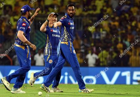 Krunal Pandya and Rohit Sharma of Mumbai Indians celebrates the wicket of Shane Watson of Chennai Super Kings during the VIVO IPL T20 qualifier cricket in Chennai, India