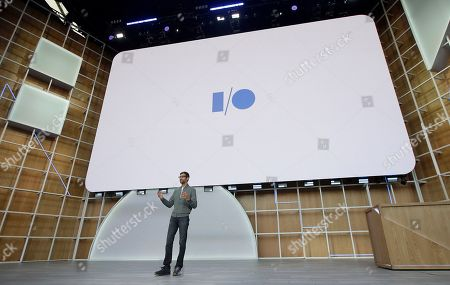 Google CEO Sundar Pichai speaks during the keynote address of the Google I/O conference in Mountain View, Calif