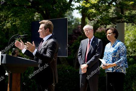 Francis Collins, Toni Townes-Whitley, Eric Bolling. Former Fox News host Eric Bolling, left, accompanied by National Institutes of Health Francis Collins, second from right, and Microsoft US Regulated Industries President Toni Townes-Whitley, right, speaks during a one year anniversary event for the first lady's Be Best initiative in the Rose Garden of the White House, in Washington