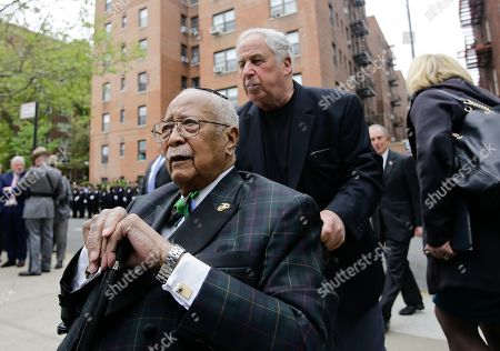 Former New York City Mayor David Dinkins arrives for a memorial service for former District Attorney Richard A. Brown at The Reform Temple of Forest Hills, in Queens borough of New York