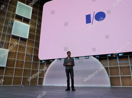 Sundar Pichai, CEO of Google walks on stage for his keynote during the Google I/O at the Shoreline Amphitheatre in Mountain View, California, USA, 07 May 2019.