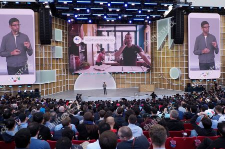 Sundar Pichai, CEO of Google demonstrates Duplex on the Web during his keynote during the Google I/O at the Shoreline Amphitheatre in Mountain View, California, USA, 07 May 2019.