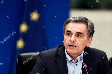 Greek Finance Minister Euclid Tsakalotos adress to the journalists during a press conference to announce the package of positive measures, in Athens, Greece, 07 May 2019. The relevant draft law will be tabled in parliament over the next days and will include among others the framework for the 120-installment debt settlement to social security funds and the Tax Bureau.