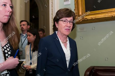 Sen. Susan Collins, R-Maine, arrives for the Republican policy luncheon on Capitol Hill, in Washington