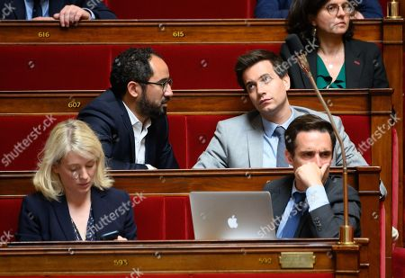 Stock Picture of Guillaume Chiche, Pierre Person, Berangere Abba and Jean-Baptiste Djebbari-Bonnet during the weekly session of questions to the government at the National Assembly.