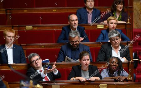 Jean-Luc Melenchon, Mathilde Panot and Daniele Obono, Adrien Quatennens, Alexis Corbiere and Eric Coquerel during the weekly session of questions to the government at the National Assembly.