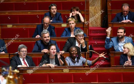 Jean-Luc Melenchon, Mathilde Panot and Daniele Obono, Alexis Corbiere, Eric Coquerel and Bastien Lachaud during the weekly session of questions to the government at the National Assembly.