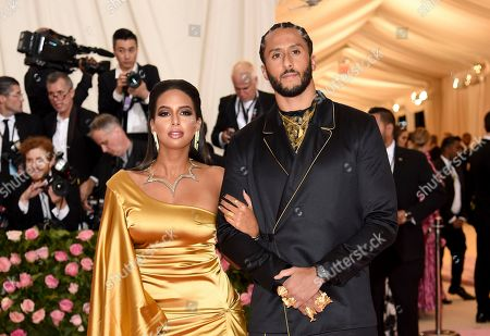 """Nessa Diab, Colin Kaepernick. Colin Kaepernick, left, and girlfriend Nessa Diab attendThe Metropolitan Museum of Art's Costume Institute benefit gala celebrating the opening of the """"Camp: Notes on Fashion"""" exhibition, in New York"""