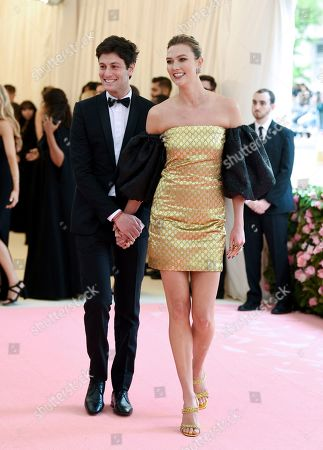 """Stock Picture of Joshua Kushner, Karlie Kloss. Joshua Kushner, left, and wife Karlie Kloss arrive at The Metropolitan Museum of Art's Costume Institute benefit gala celebrating the opening of the """"Camp: Notes on Fashion"""" exhibition, in New York"""