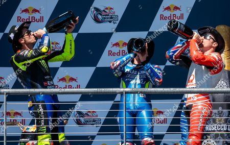 Valentino Rossi, Alex Rins, and Jack Miller